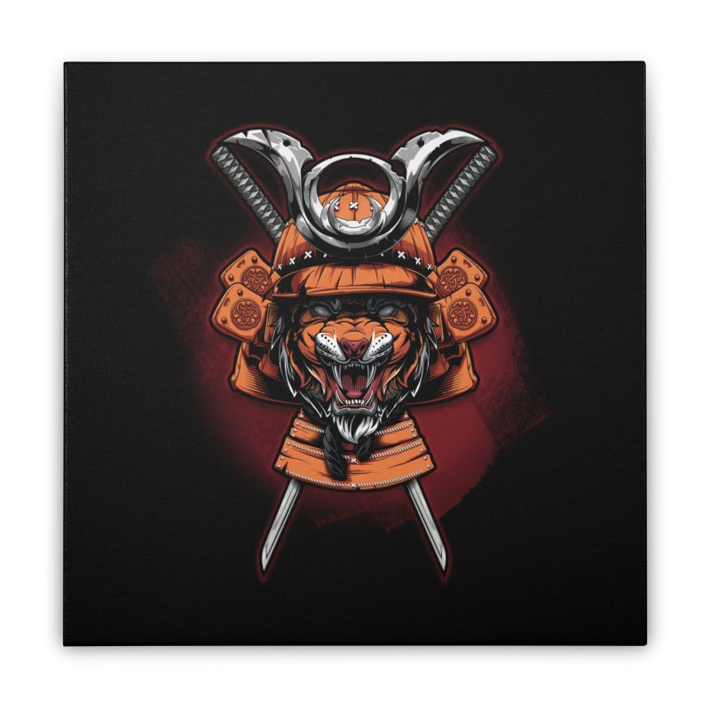 Tiger samurai Home Stretched Canvas by fishark's Artist Shop