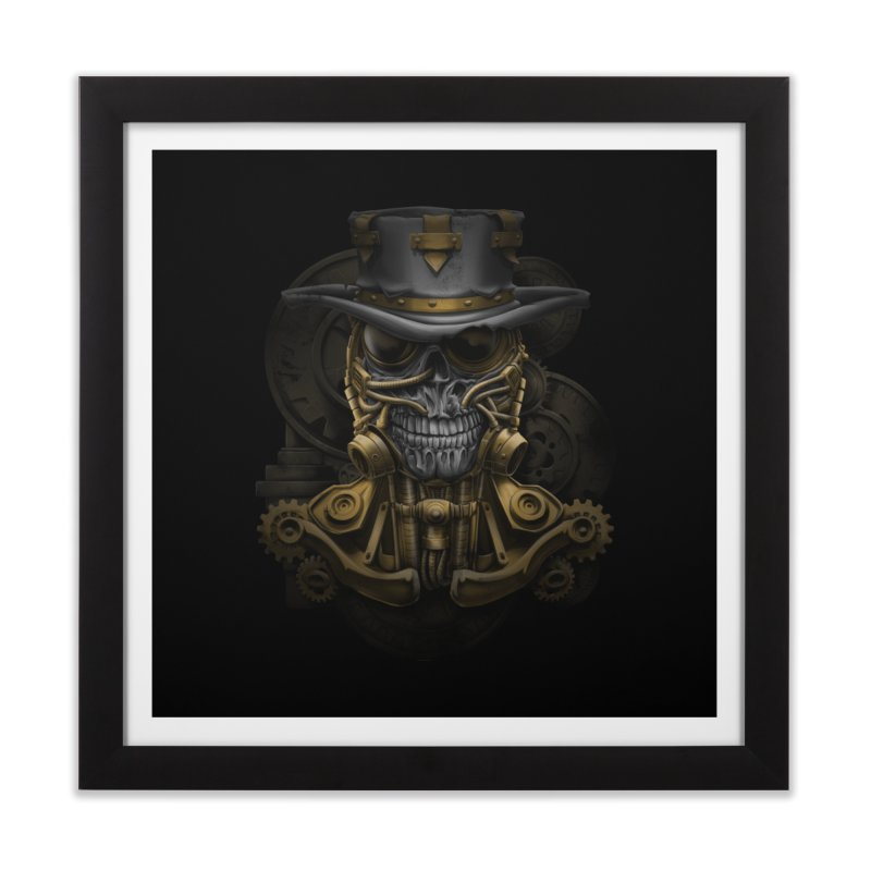 steampunk skull Home Framed Fine Art Print by fishark's Artist Shop