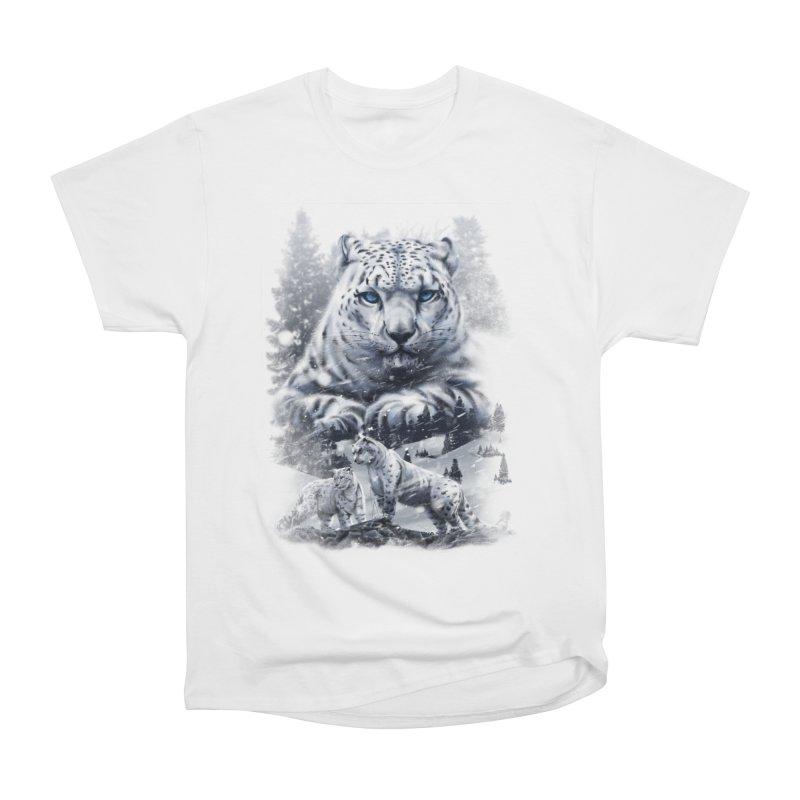 snow leopard Women's Heavyweight Unisex T-Shirt by fishark's Artist Shop