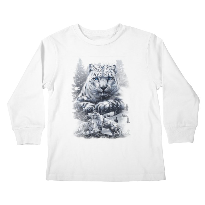 snow leopard Kids Longsleeve T-Shirt by fishark's Artist Shop