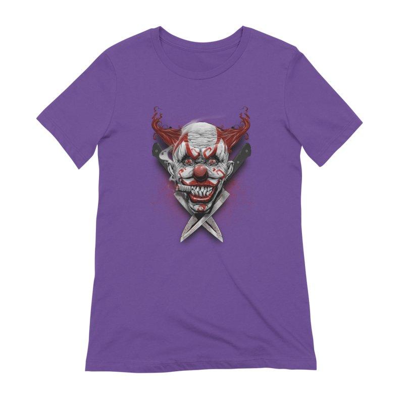 angry clown Women's Extra Soft T-Shirt by fishark's Artist Shop