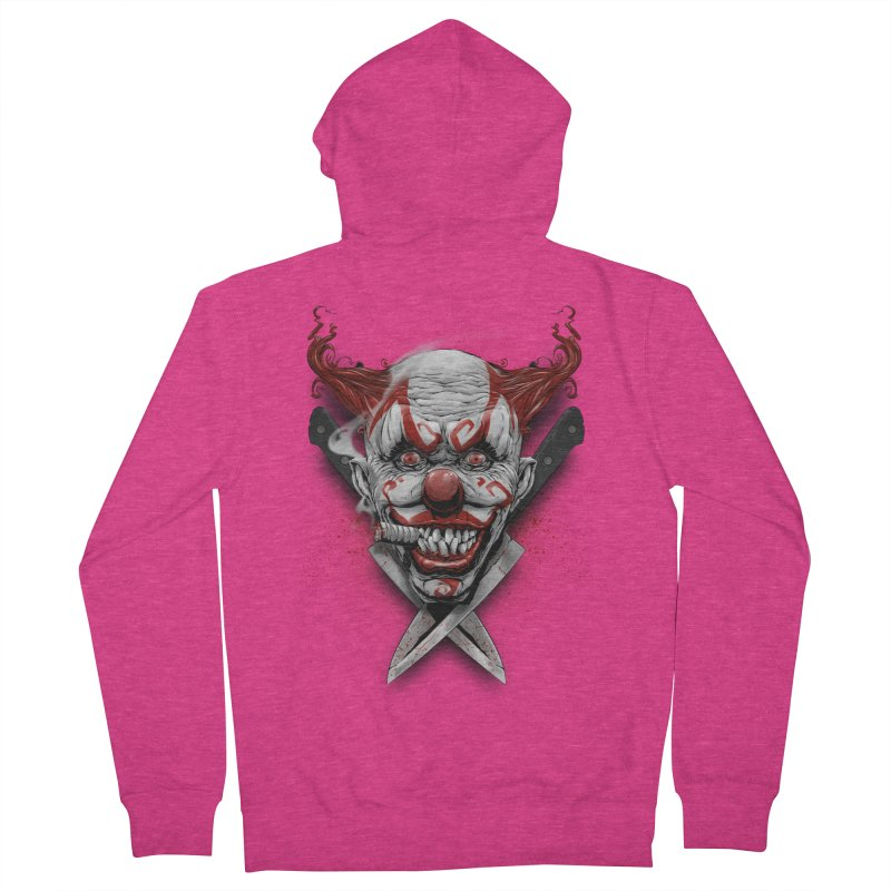 angry clown Women's French Terry Zip-Up Hoody by fishark's Artist Shop