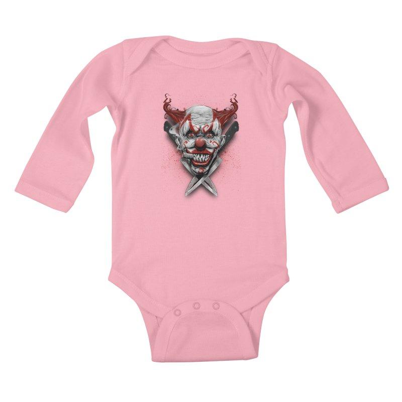 angry clown Kids Baby Longsleeve Bodysuit by fishark's Artist Shop