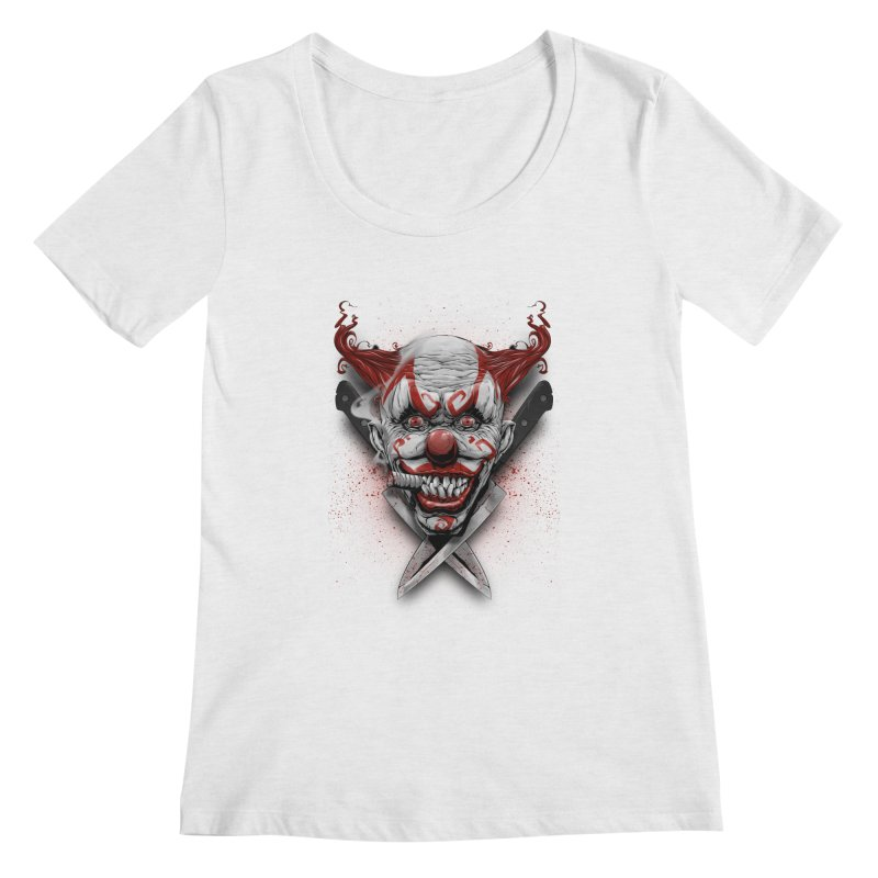 angry clown Women's Regular Scoop Neck by fishark's Artist Shop