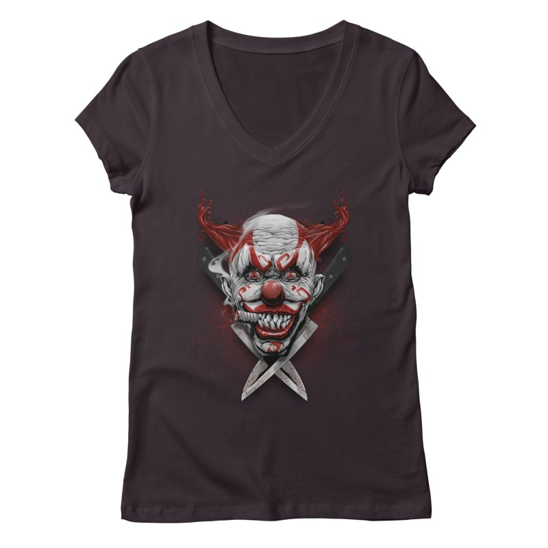 angry clown Women's Regular V-Neck by fishark's Artist Shop