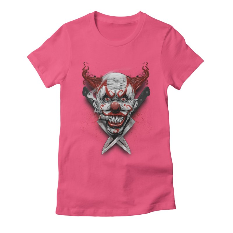 angry clown Women's Fitted T-Shirt by fishark's Artist Shop