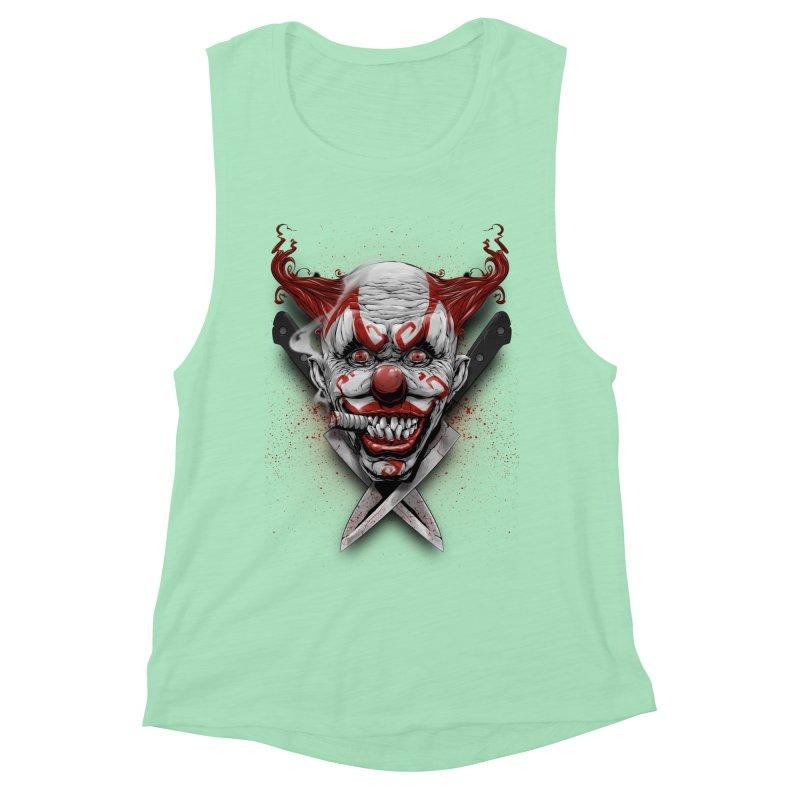 angry clown Women's Muscle Tank by fishark's Artist Shop