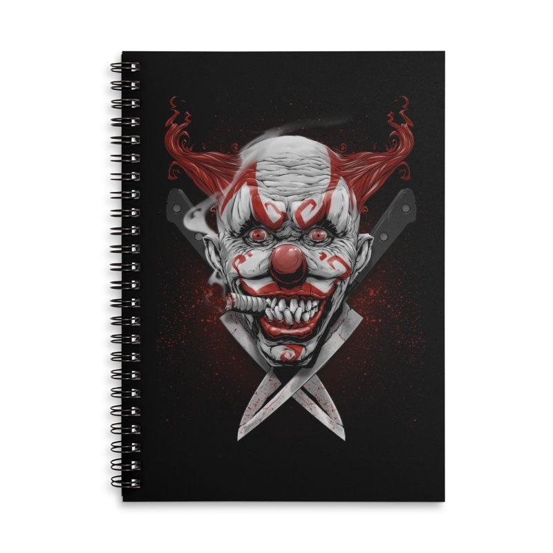 angry clown Accessories Lined Spiral Notebook by fishark's Artist Shop