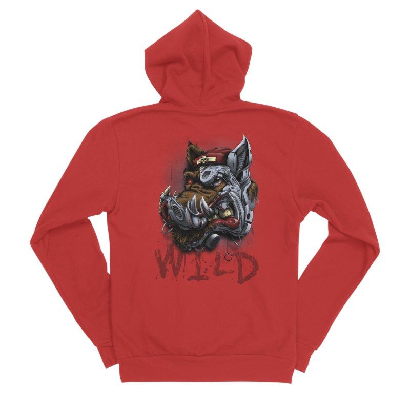 wild boar Men's Zip-Up Hoody by fishark's Artist Shop
