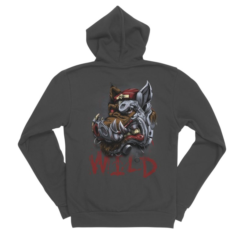 wild boar Men's Sponge Fleece Zip-Up Hoody by fishark's Artist Shop