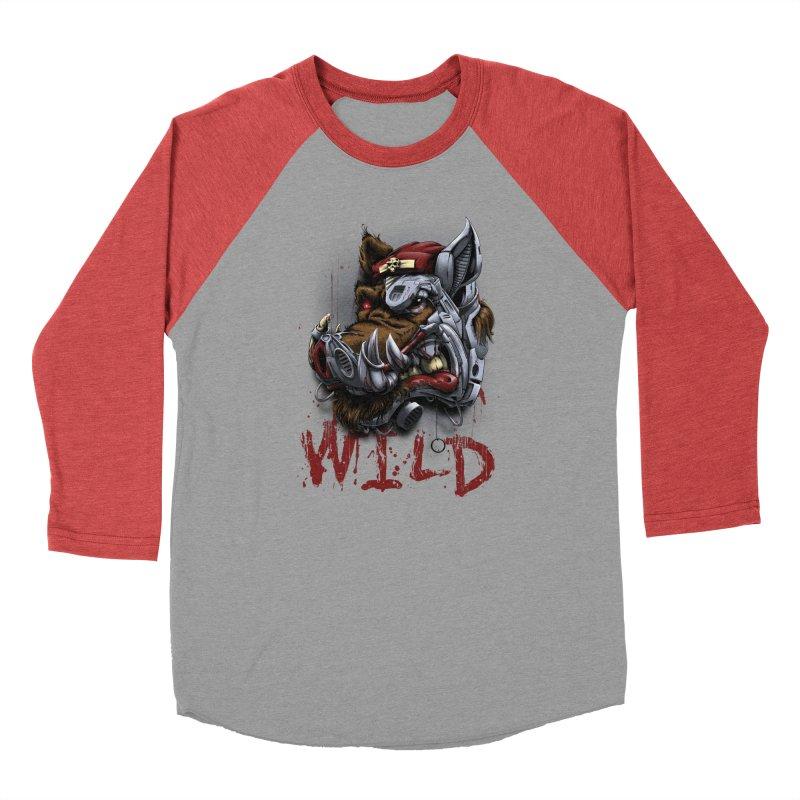wild boar Men's Baseball Triblend Longsleeve T-Shirt by fishark's Artist Shop