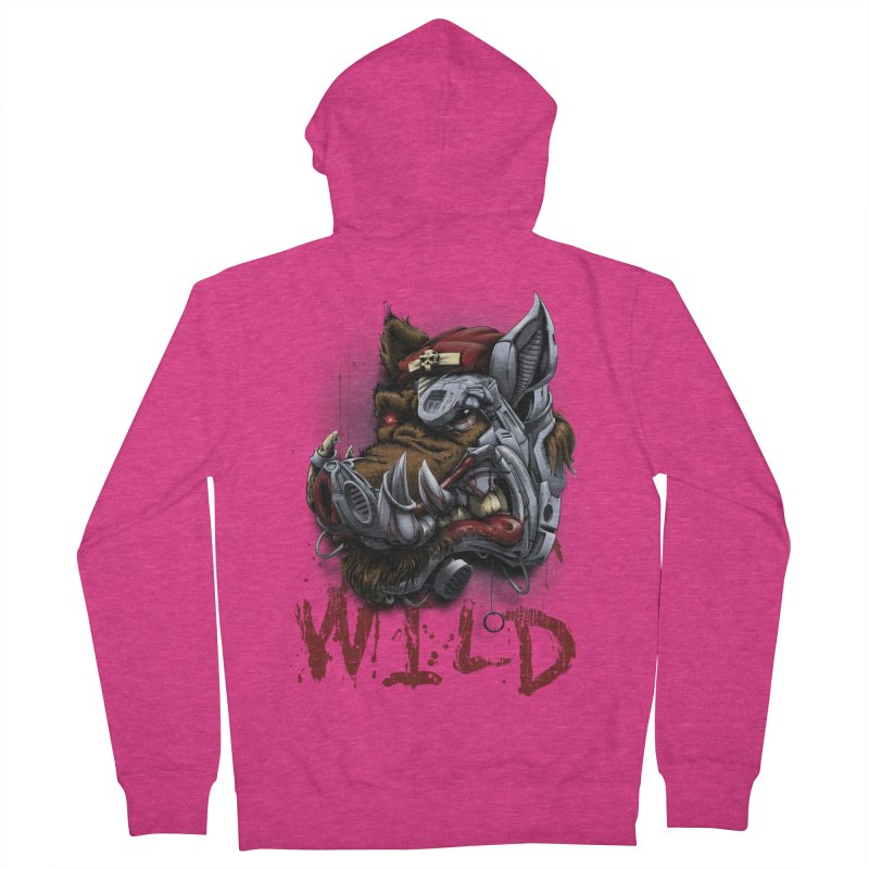 wild boar Women's French Terry Zip-Up Hoody by fishark's Artist Shop