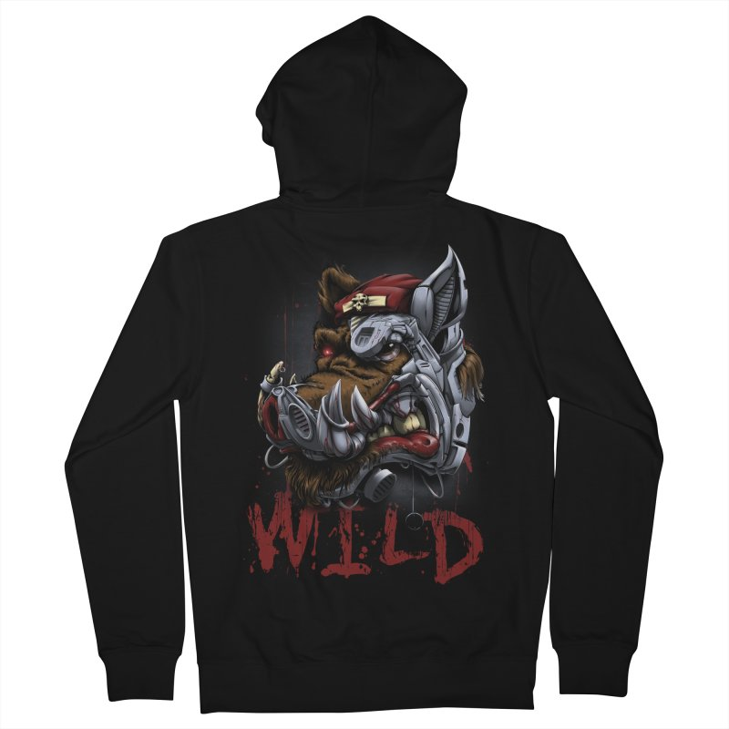 wild boar Women's French Terry Zip-Up Hoody by fishark's Artist Shop