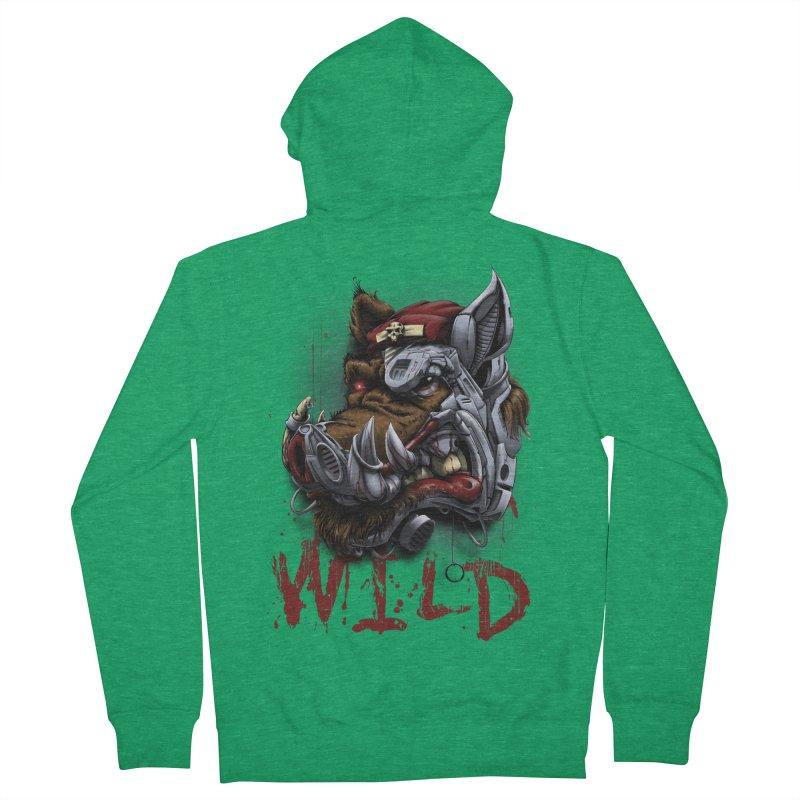 wild boar Men's French Terry Zip-Up Hoody by fishark's Artist Shop
