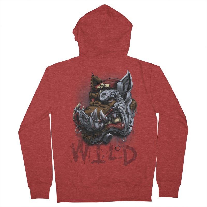 wild boar Men's French Terry Zip-Up Hoody by fishark's Artist Shop