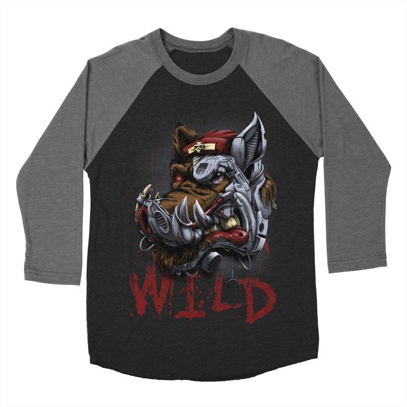wild boar Women's Baseball Triblend Longsleeve T-Shirt by fishark's Artist Shop