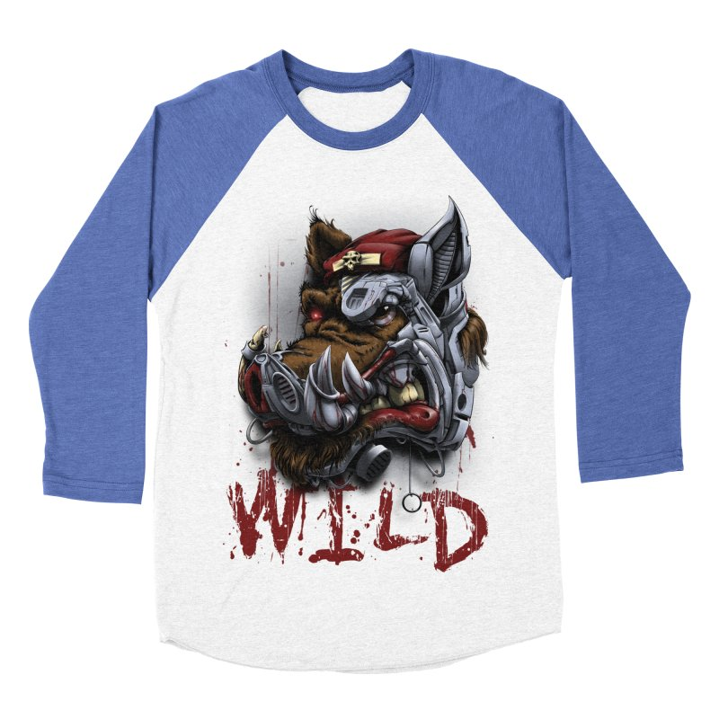 wild boar Men's Baseball Triblend Longsleeve T-Shirt by fishark's Artist Shop