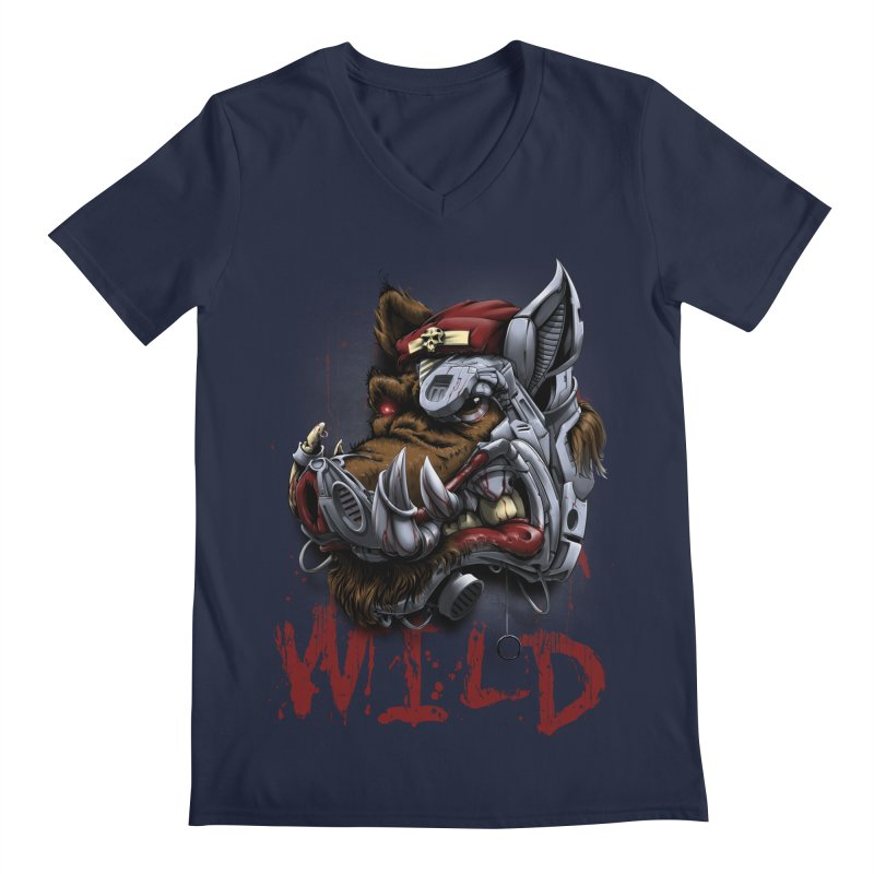 wild boar Men's Regular V-Neck by fishark's Artist Shop