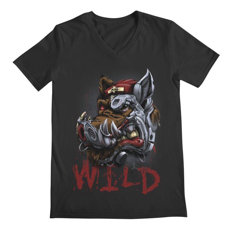wild boar Men's Regular V-Neck by fishark's Artist Shop