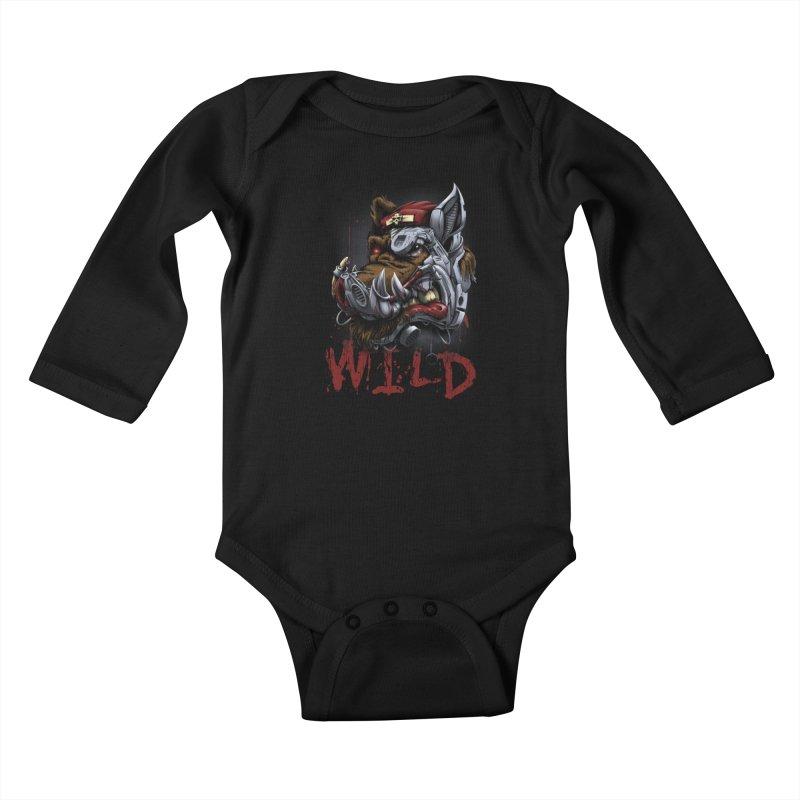 wild boar Kids Baby Longsleeve Bodysuit by fishark's Artist Shop