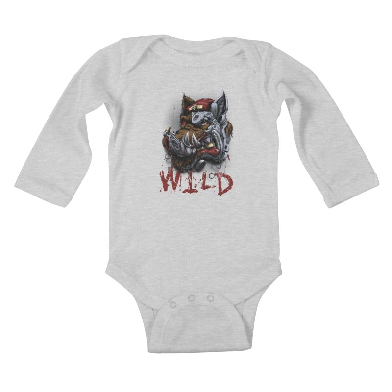 wild boar Kids Baby Longsleeve Bodysuit by fishark's Artist Shop