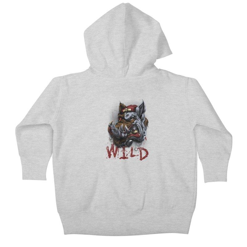 wild boar Kids Baby Zip-Up Hoody by fishark's Artist Shop