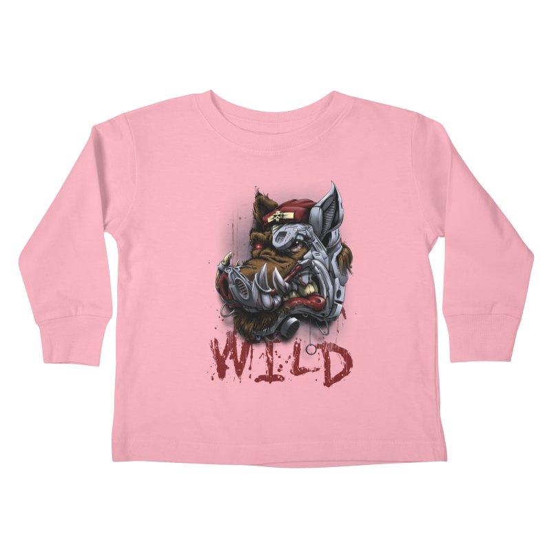 wild boar Kids Toddler Longsleeve T-Shirt by fishark's Artist Shop