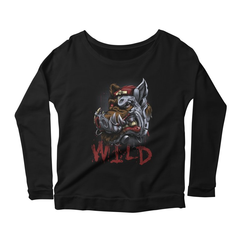 wild boar Women's Scoop Neck Longsleeve T-Shirt by fishark's Artist Shop