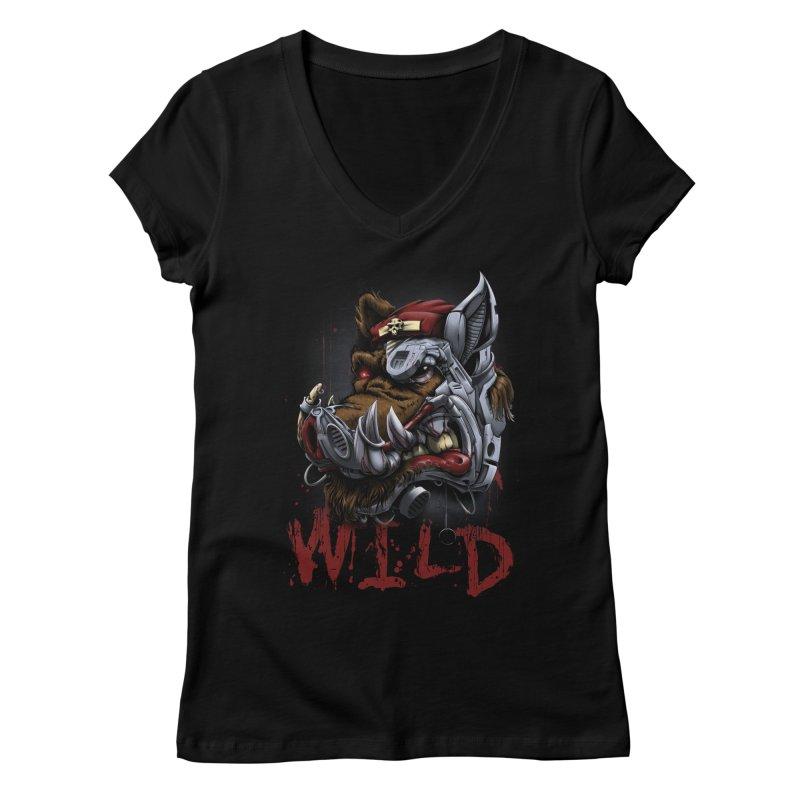 wild boar Women's V-Neck by fishark's Artist Shop