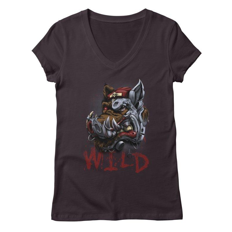 wild boar Women's Regular V-Neck by fishark's Artist Shop