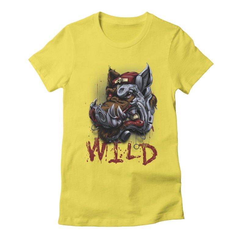 wild boar Women's Fitted T-Shirt by fishark's Artist Shop
