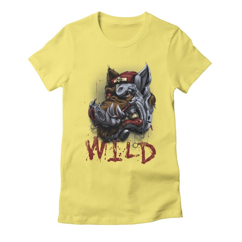 wild boar Women's Fitted T-Shirt by fishark's Artist Shop