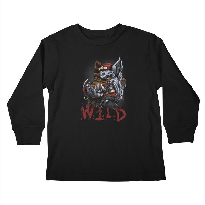 wild boar Kids Longsleeve T-Shirt by fishark's Artist Shop