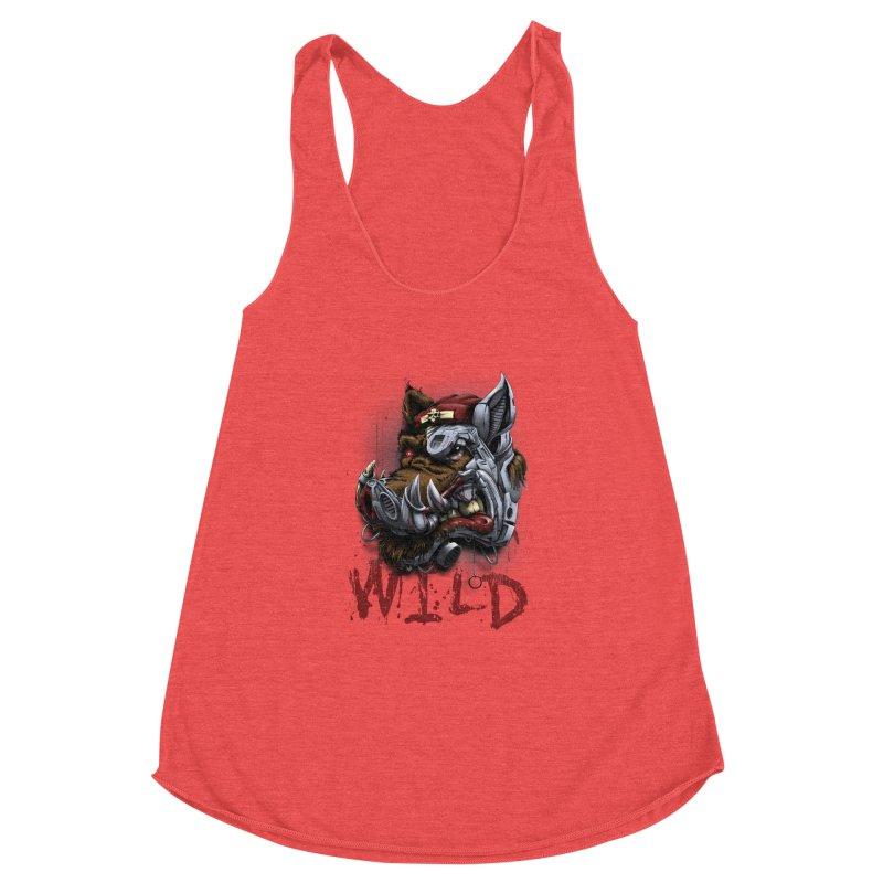 wild boar Women's Racerback Triblend Tank by fishark's Artist Shop