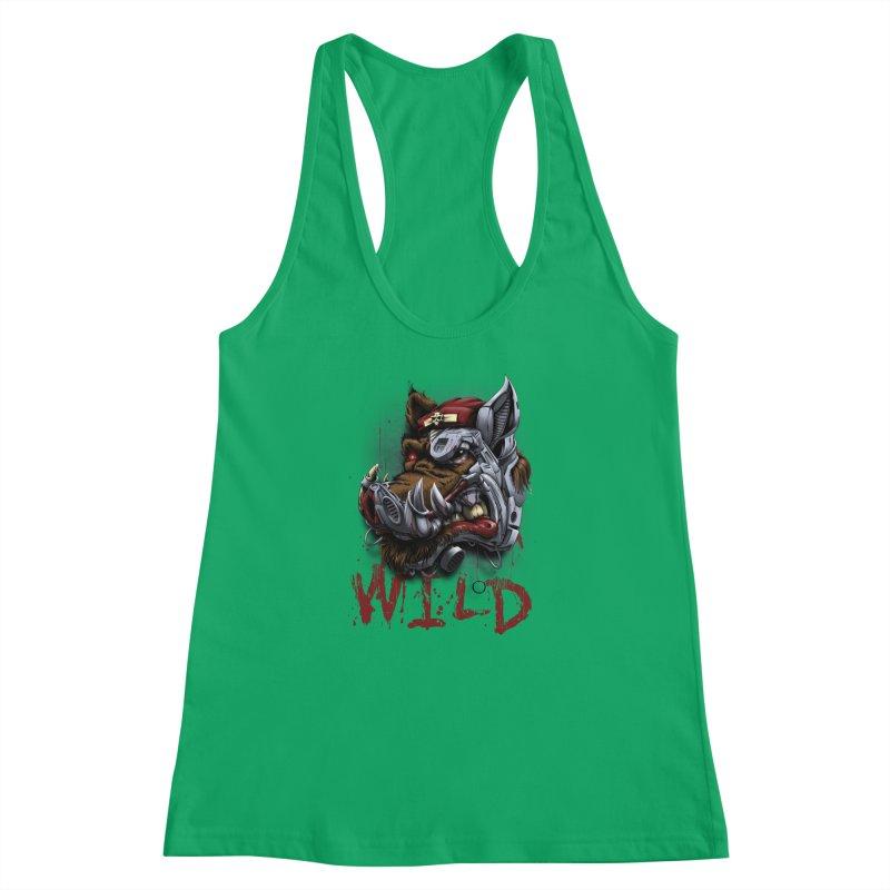 wild boar Women's Racerback Tank by fishark's Artist Shop