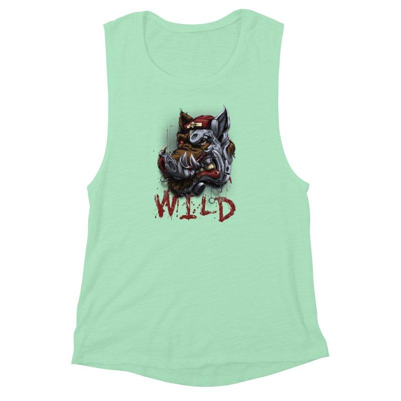 wild boar Women's Muscle Tank by fishark's Artist Shop