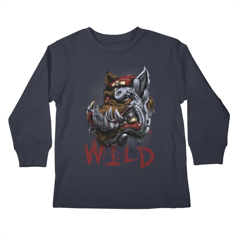 wild boar Kids Longsleeve T-Shirt by fishark's Artist Shop