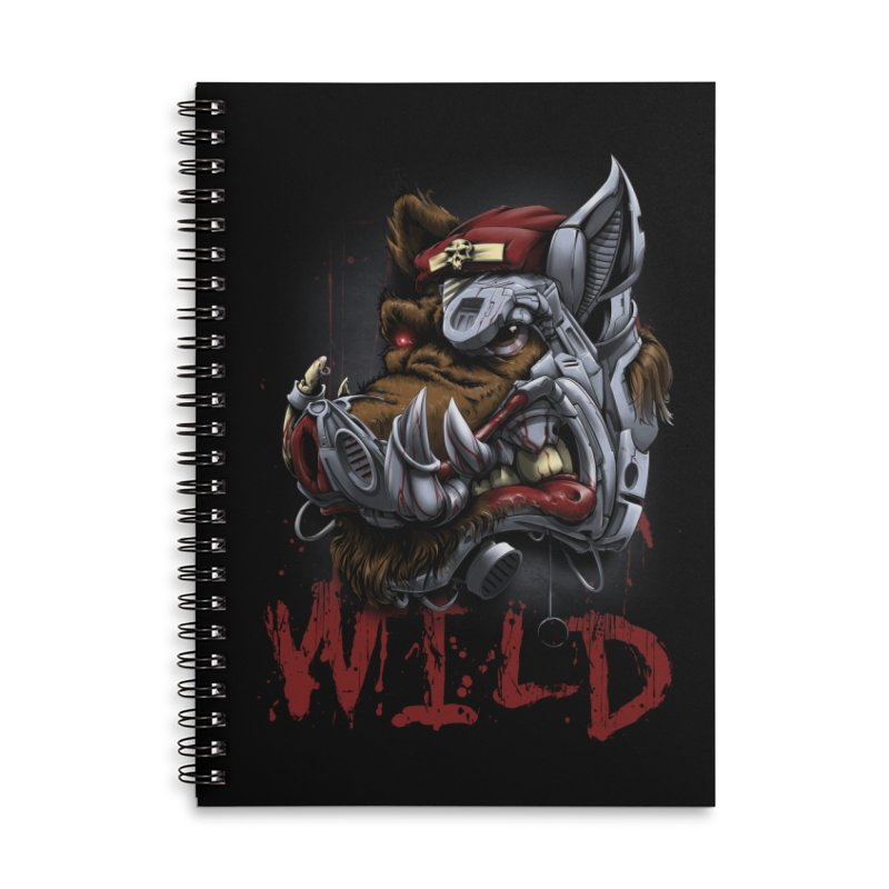 wild boar Accessories Lined Spiral Notebook by fishark's Artist Shop