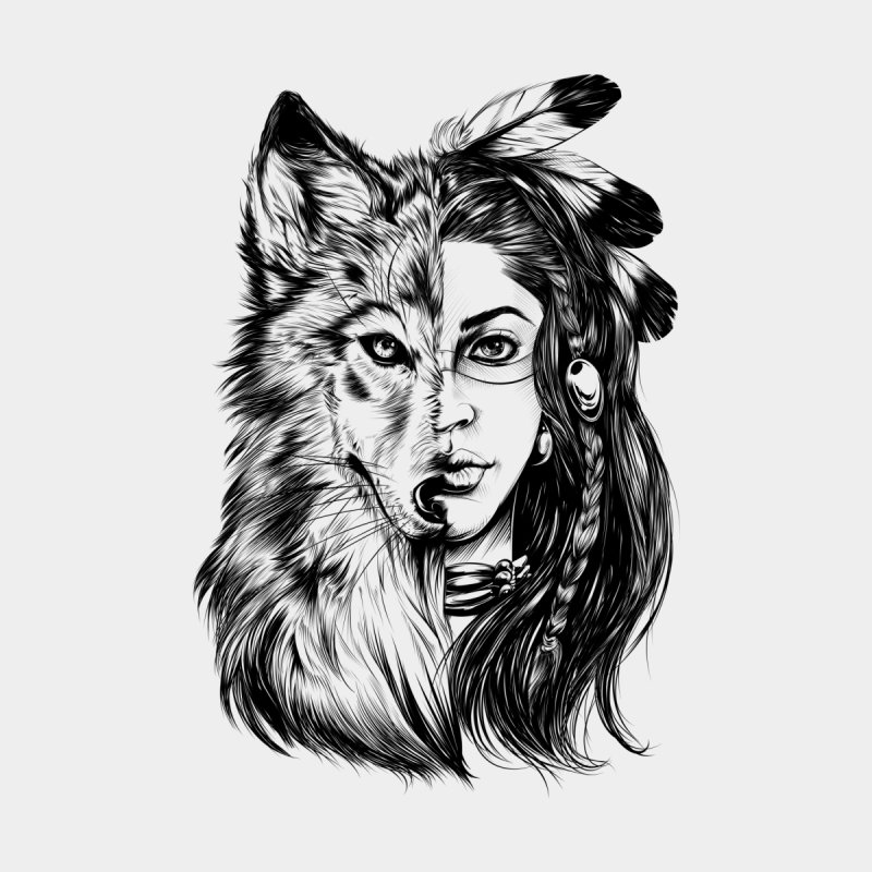 girl wolf Women's Scoop Neck by fishark's Artist Shop