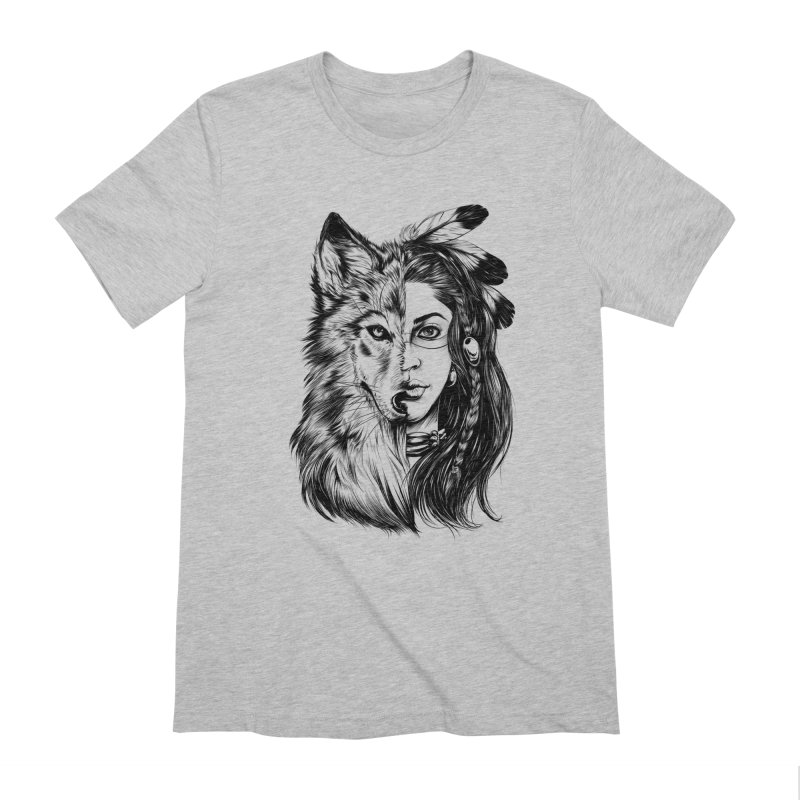 girl wolf Men's T-Shirt by fishark's Artist Shop