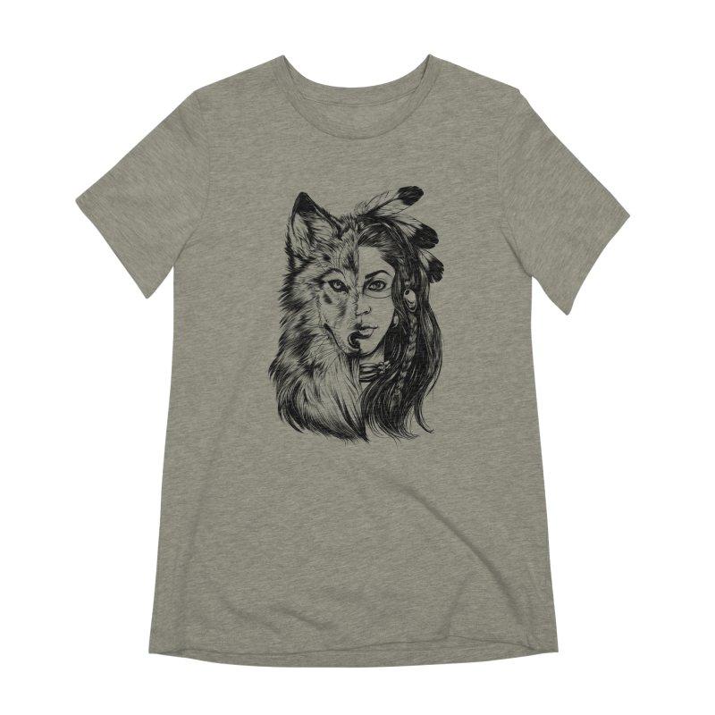 girl wolf Women's Extra Soft T-Shirt by fishark's Artist Shop
