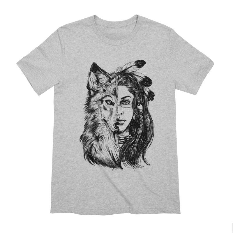girl wolf Men's Extra Soft T-Shirt by fishark's Artist Shop
