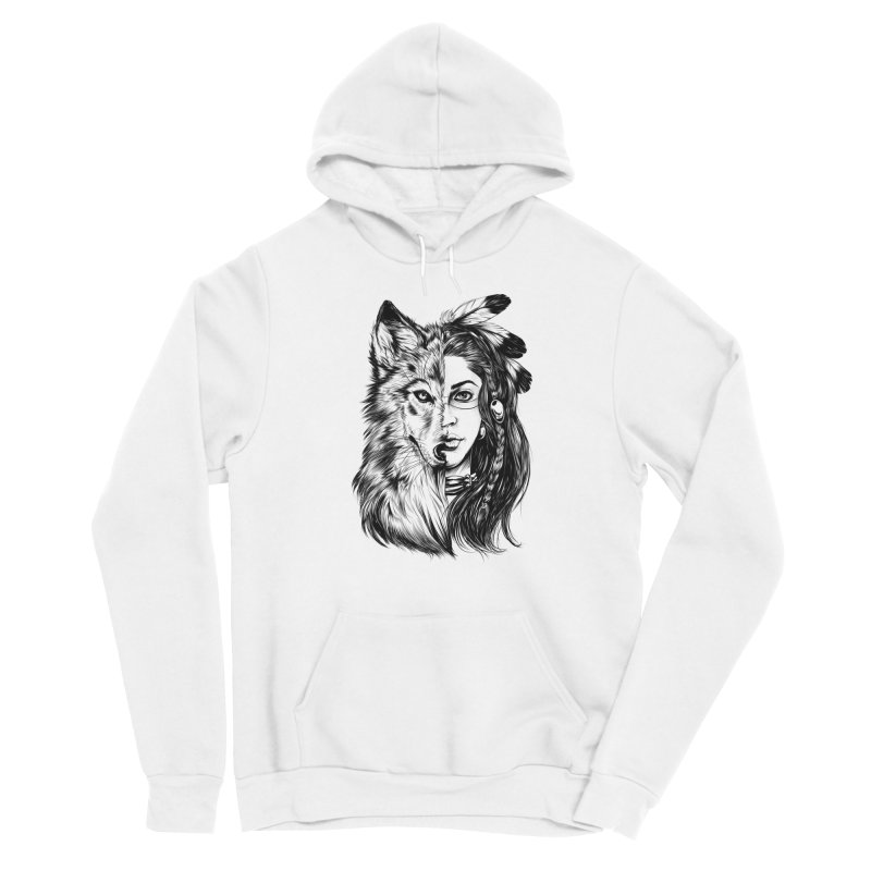 girl wolf Men's Sponge Fleece Pullover Hoody by fishark's Artist Shop