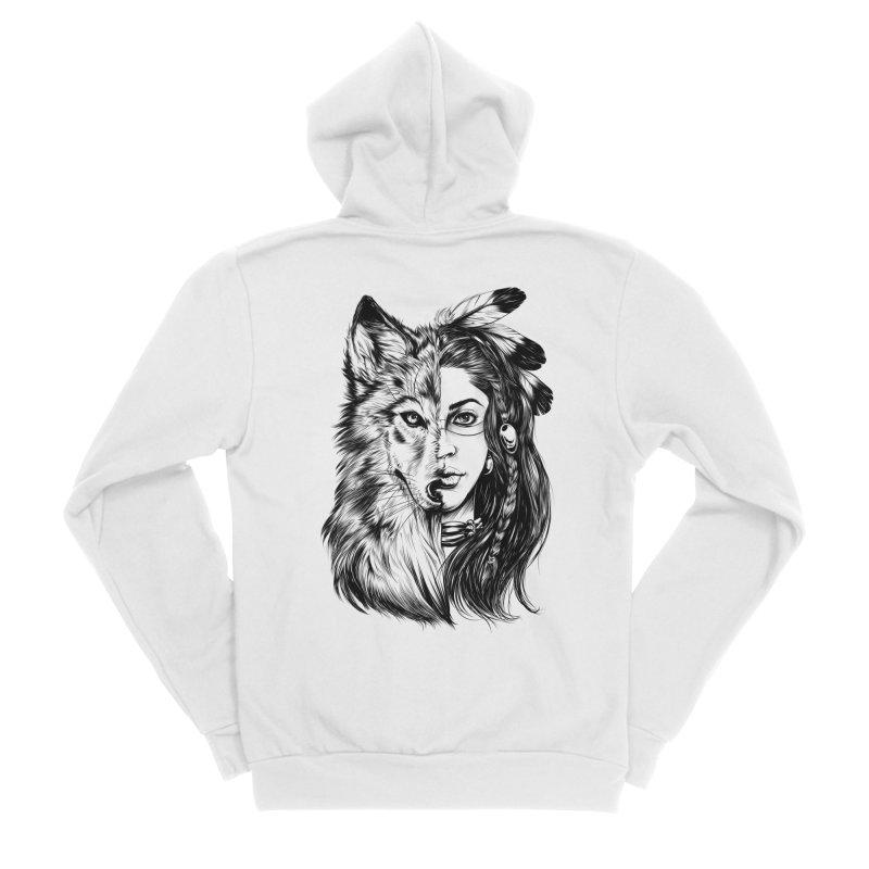 girl wolf Women's Sponge Fleece Zip-Up Hoody by fishark's Artist Shop