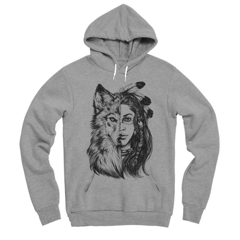 girl wolf Women's Sponge Fleece Pullover Hoody by fishark's Artist Shop