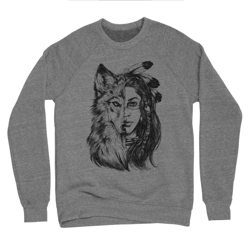 girl wolf Women's Sponge Fleece Sweatshirt by fishark's Artist Shop