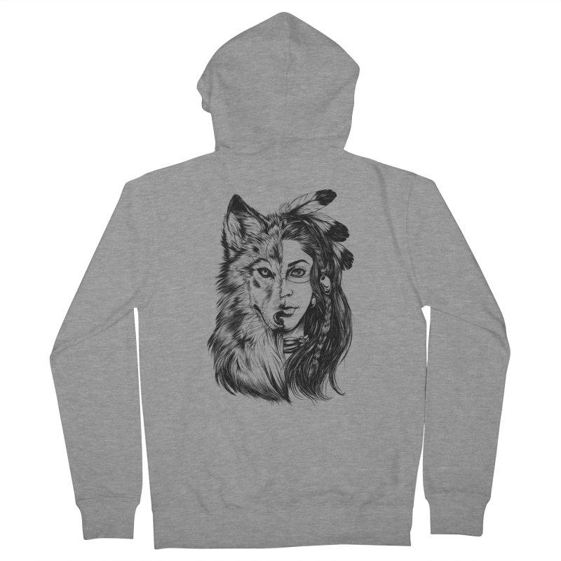 girl wolf Women's Zip-Up Hoody by fishark's Artist Shop