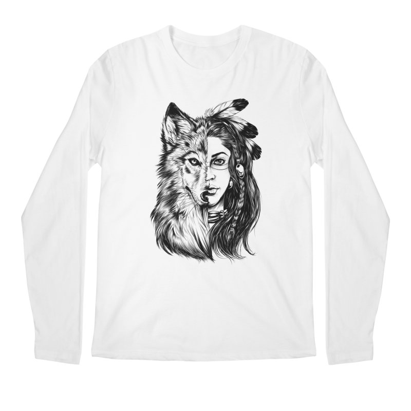 girl wolf Men's Longsleeve T-Shirt by fishark's Artist Shop