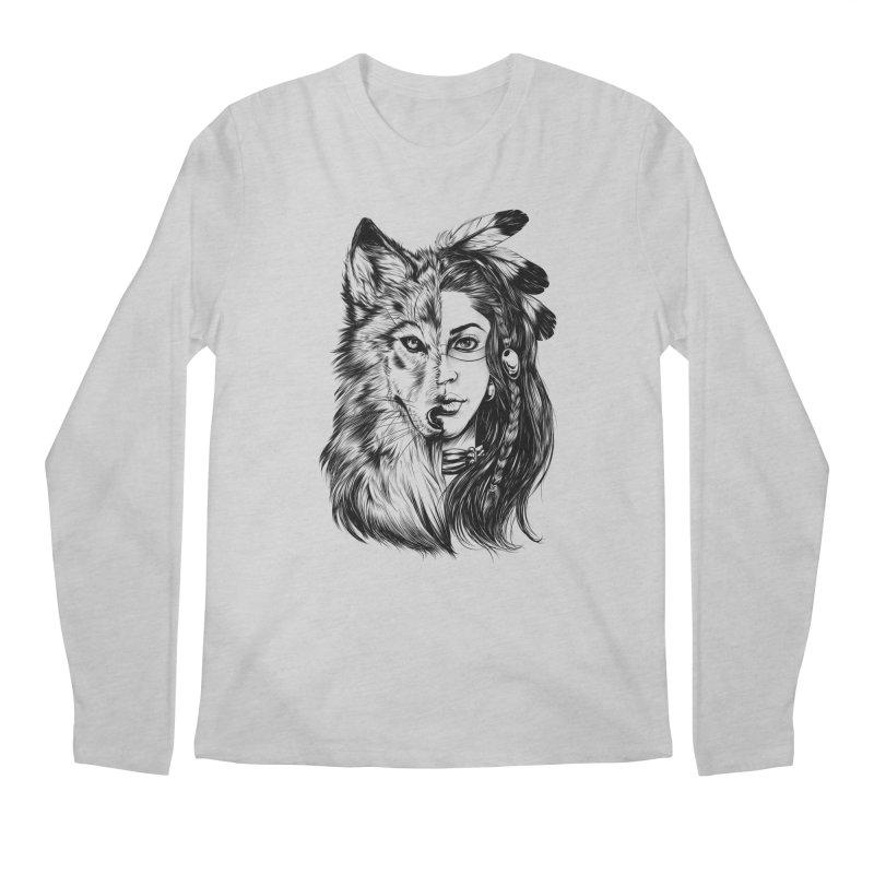 girl wolf Men's Longsleeve T-Shirt by fishark's Artist Shop