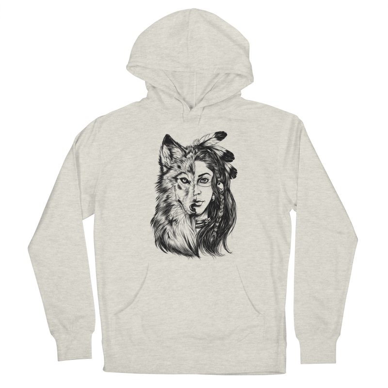 girl wolf Men's Pullover Hoody by fishark's Artist Shop